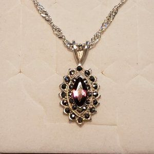 Jewelry - Dainty Vintage Amethyst and Marcasite necklace